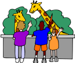 children at zoo with giraffes