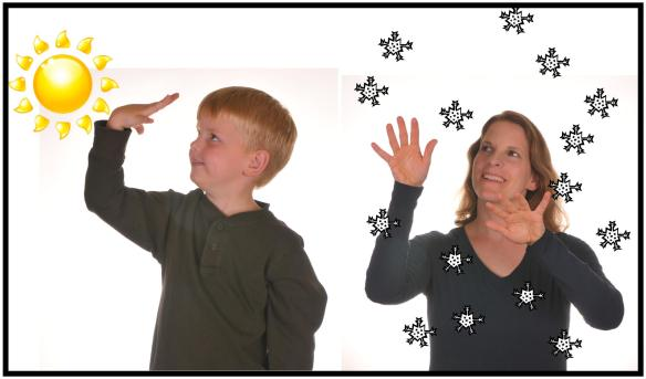 picture of boy signing SUN and woman signing SNOW