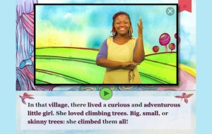 "screenshot of ""The Baobab"" showing a woman signing TREE."
