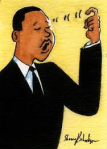 A drawing of Dr, Martin Luther King, Jr. signing DREAM.
